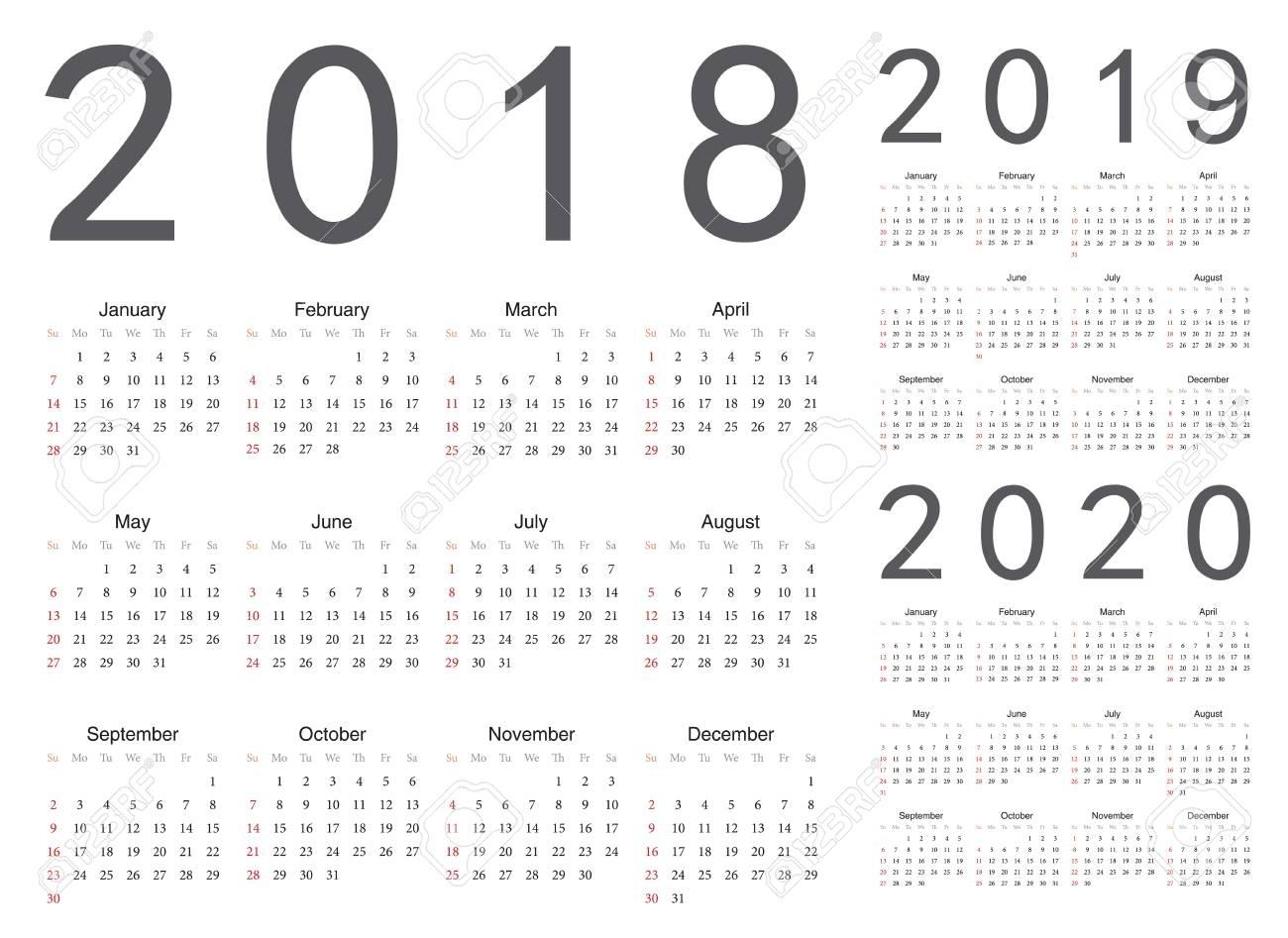 Set Of European 2018, 2019, 2020 Year Vector Calendars. Week..
