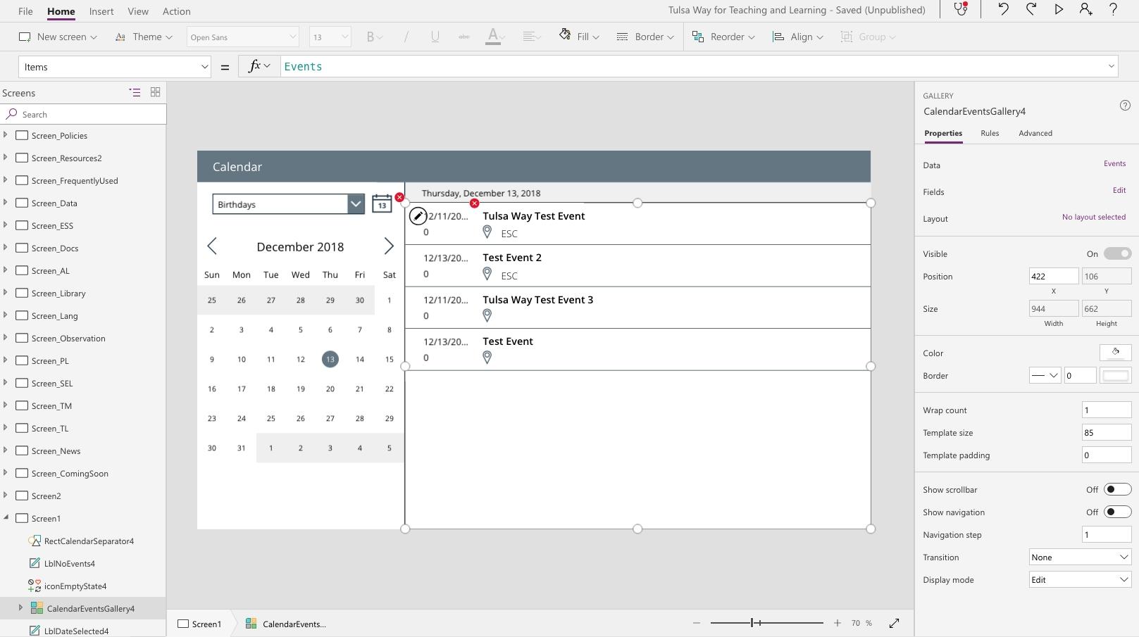 Sharepoint Calendar W/ Powerapps Calendar Template - Power