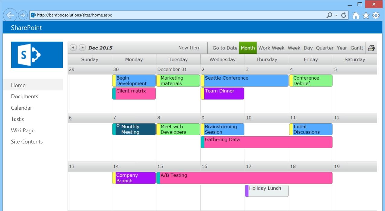 Sharepoint Calendar Web Part - Bamboo Solutions