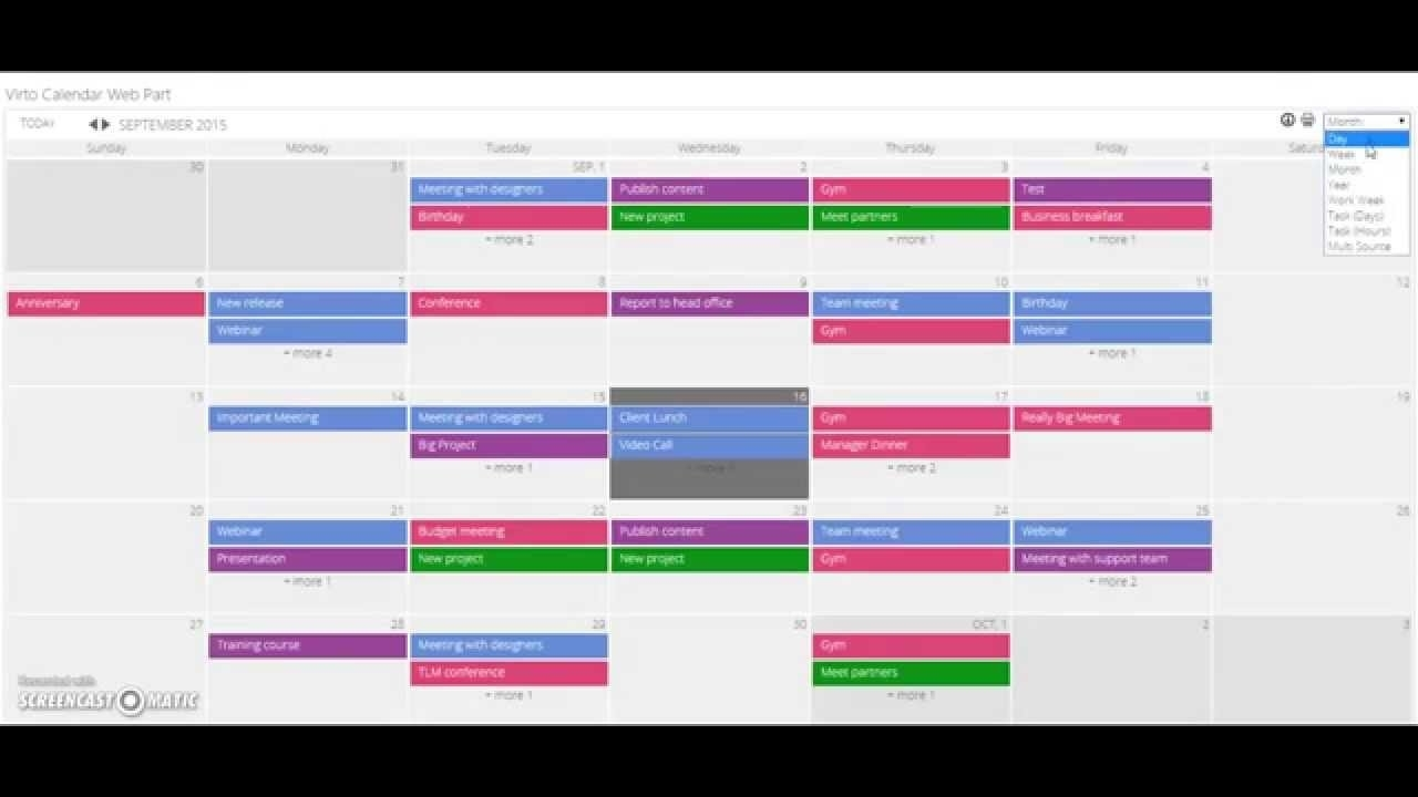 Sharepoint Calendar Web Part Overview - Virtosoftware