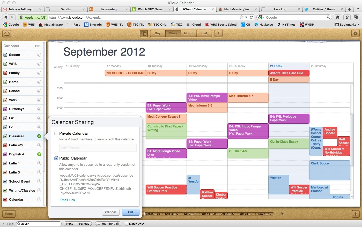 Sharing Assignments Through Ical Shared Calendars | Wayland