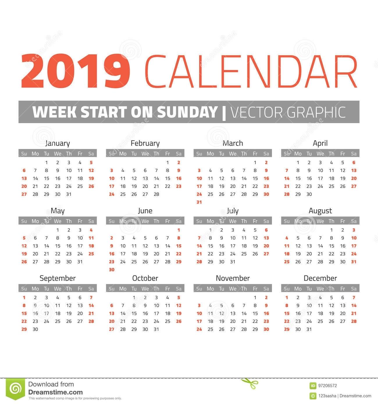 Simple 2019 Year Calendar Stock Vector. Illustration Of Date
