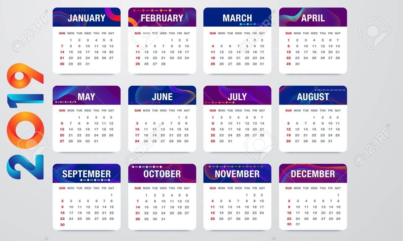 Simple 2019 Year Vector Calendar / 2019 Calendar Vertical - Week..