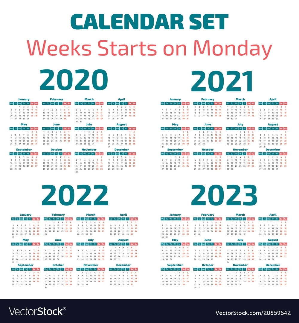 Simple 2020-2023 Years Calendar