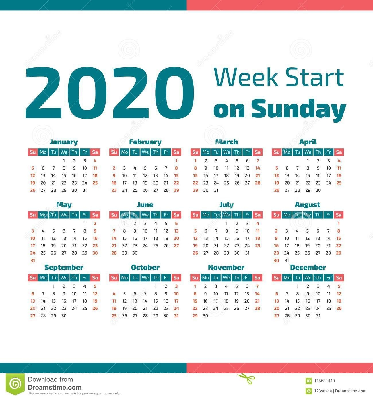 Simple 2020 Year Calendar Stock Vector. Illustration Of
