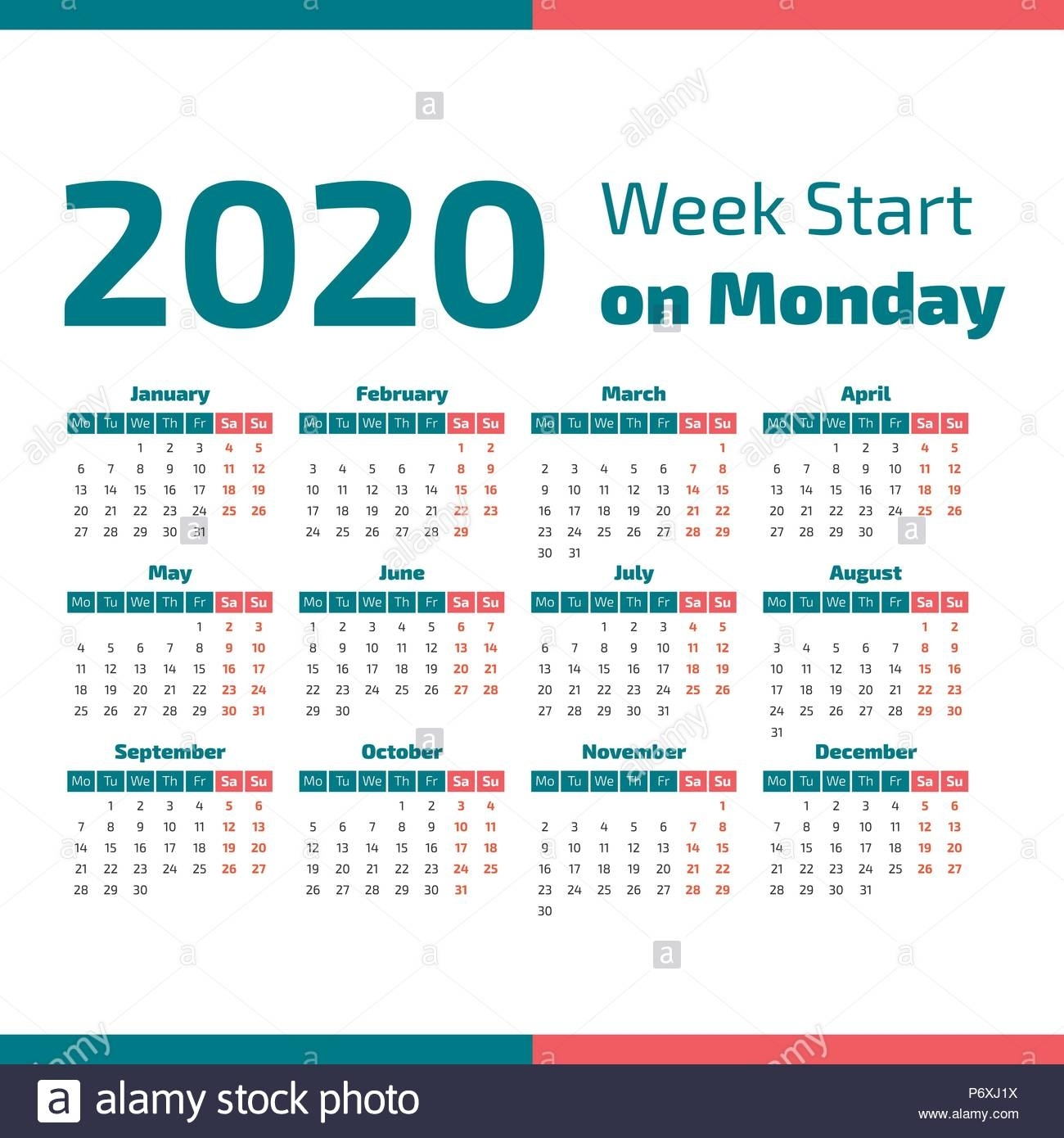 Simple 2020 Year Calendar, Week Starts On Monday Stock