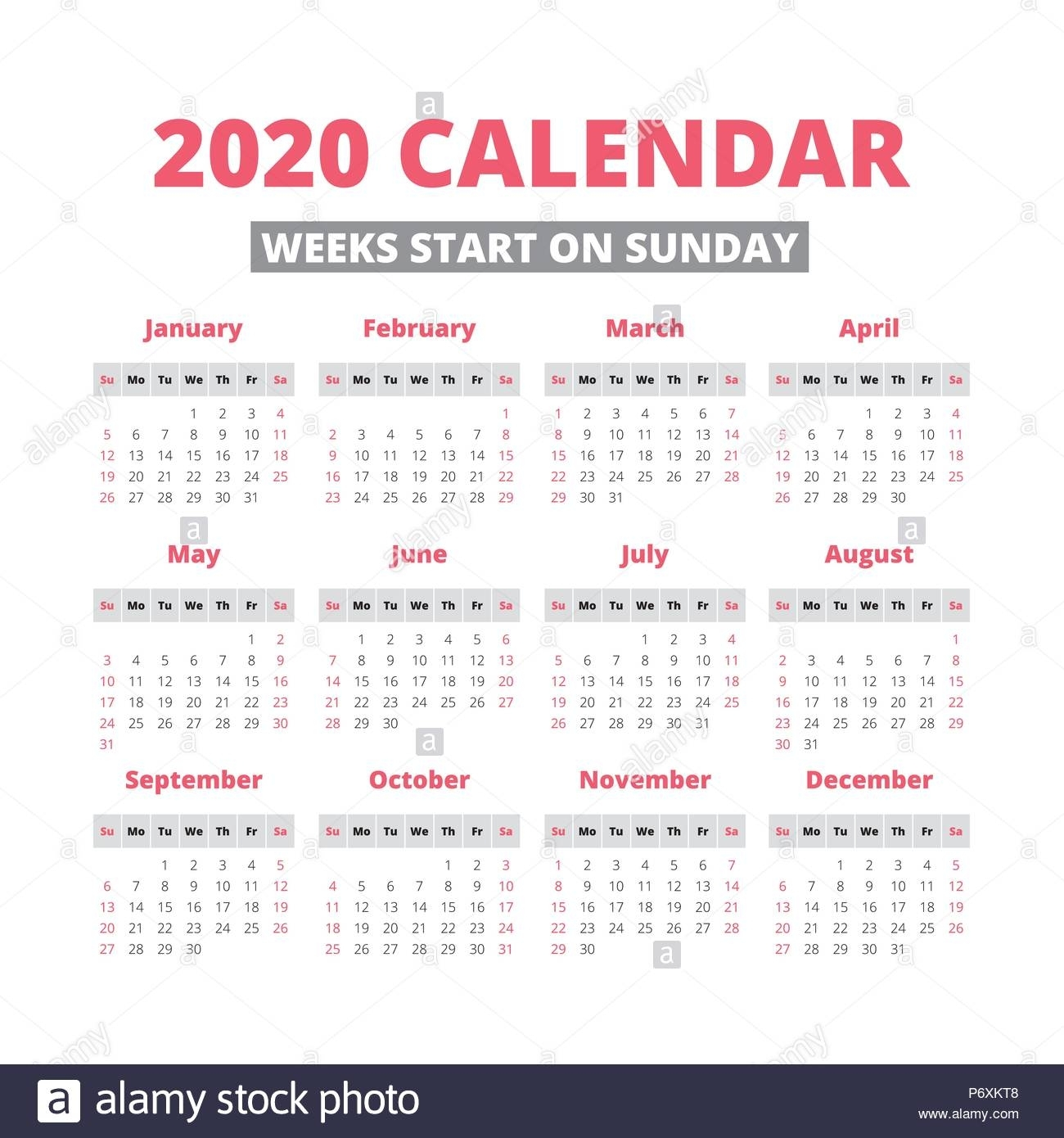 Simple 2020 Year Calendar, Week Starts On Sunday Stock