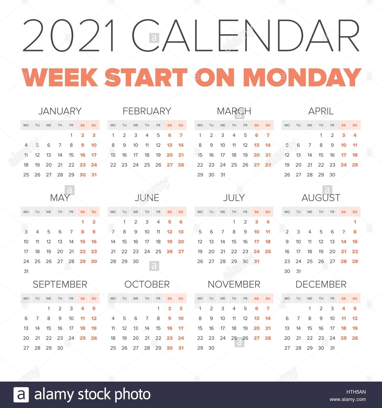 Simple 2021 Year Calendar, Week Starts On Monday Stock
