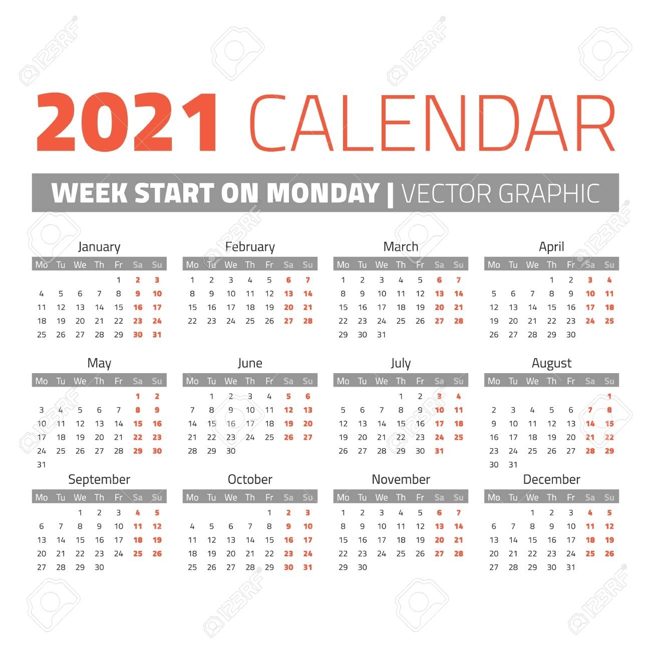 Simple 2021 Year Calendar, Week Starts On Monday