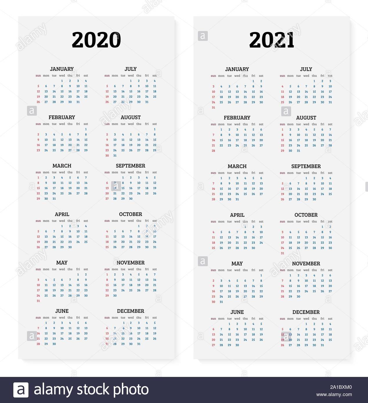 Simple 2021 Year Calendar Week Stock Photos & Simple 2021
