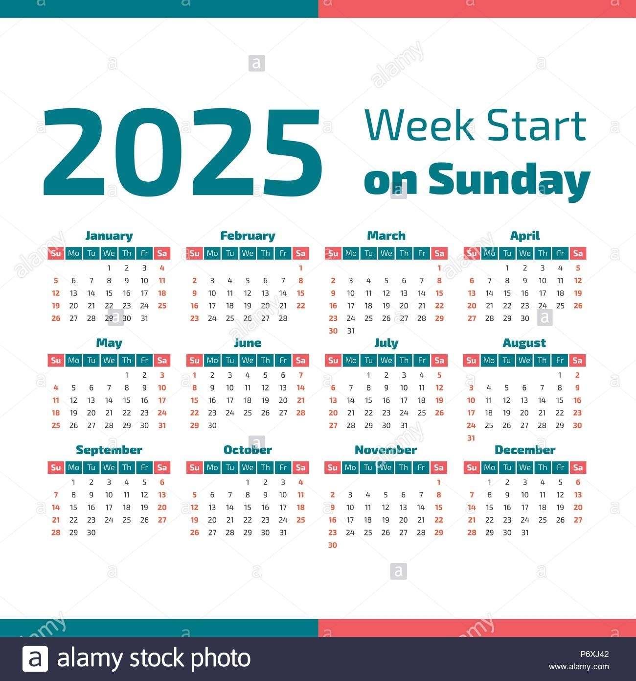 Simple 2025 Year Calendar, Week Starts On Sunday Stock