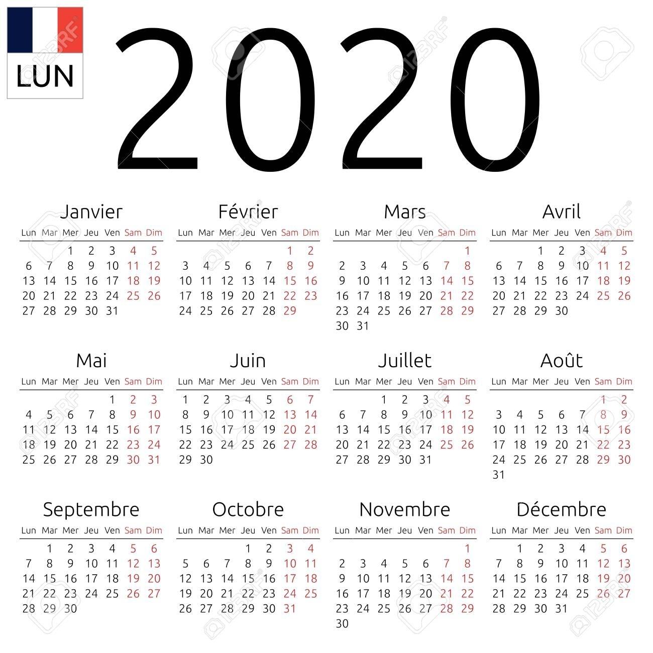 Simple Annual 2020 Year Wall Calendar. French Language. Week..