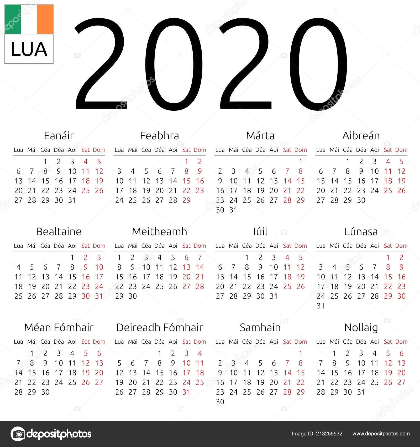 Simple Annual 2020 Year Wall Calendar Irish Language Week