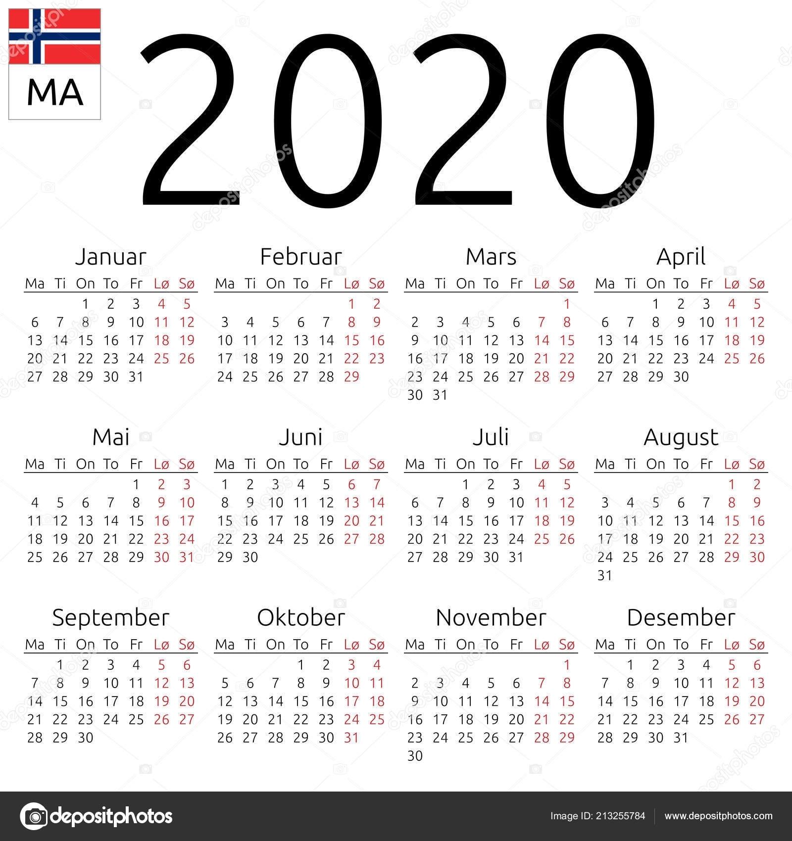 Simple Annual 2020 Year Wall Calendar Norwegian Language