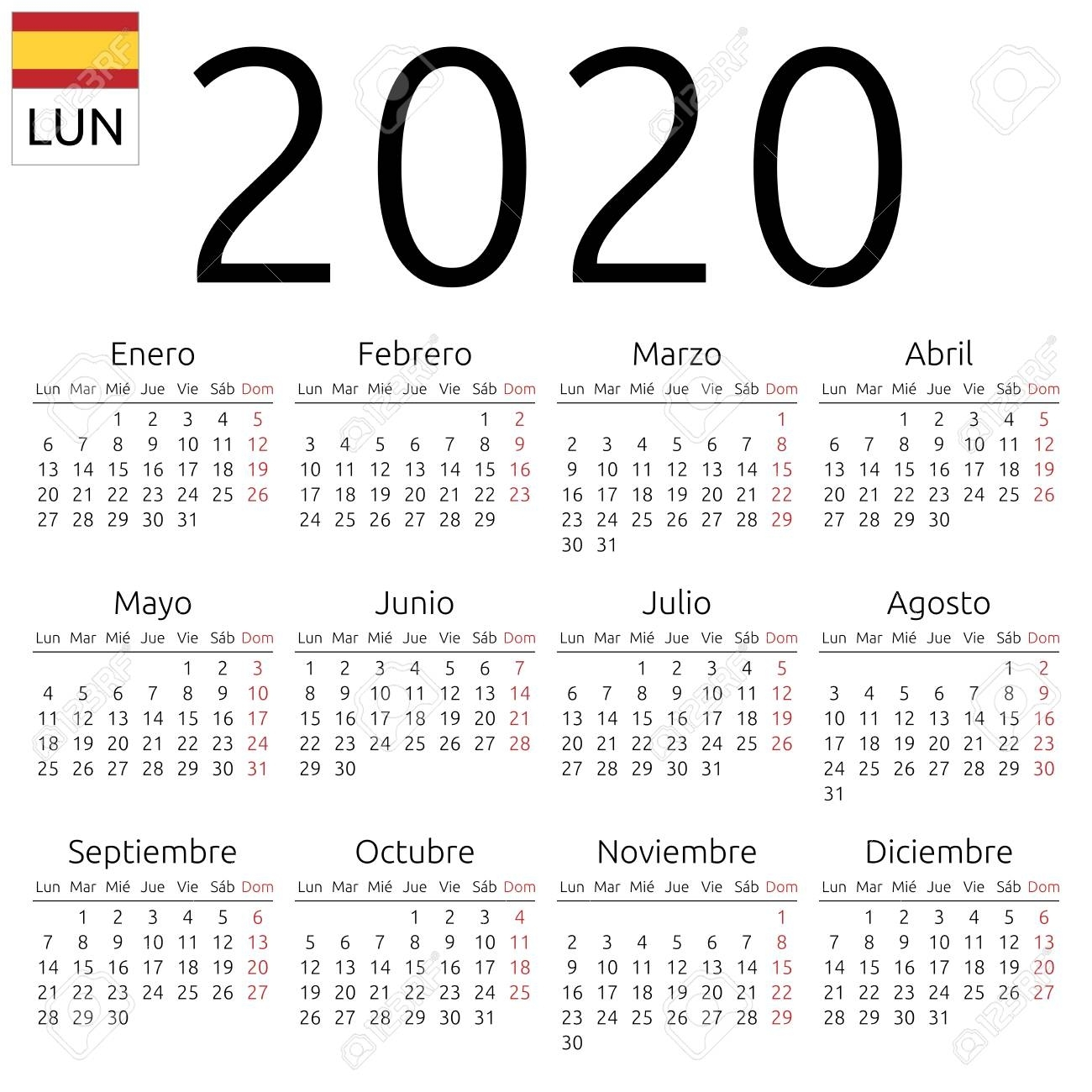 Simple Annual 2020 Year Wall Calendar. Spanish Language. Week..