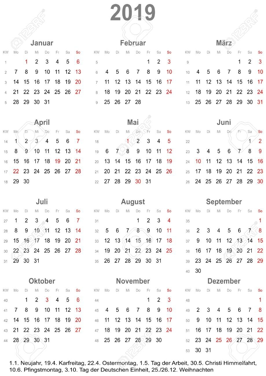 Simple Calendar 2019 - One Year At A Glance - Starts Monday With..