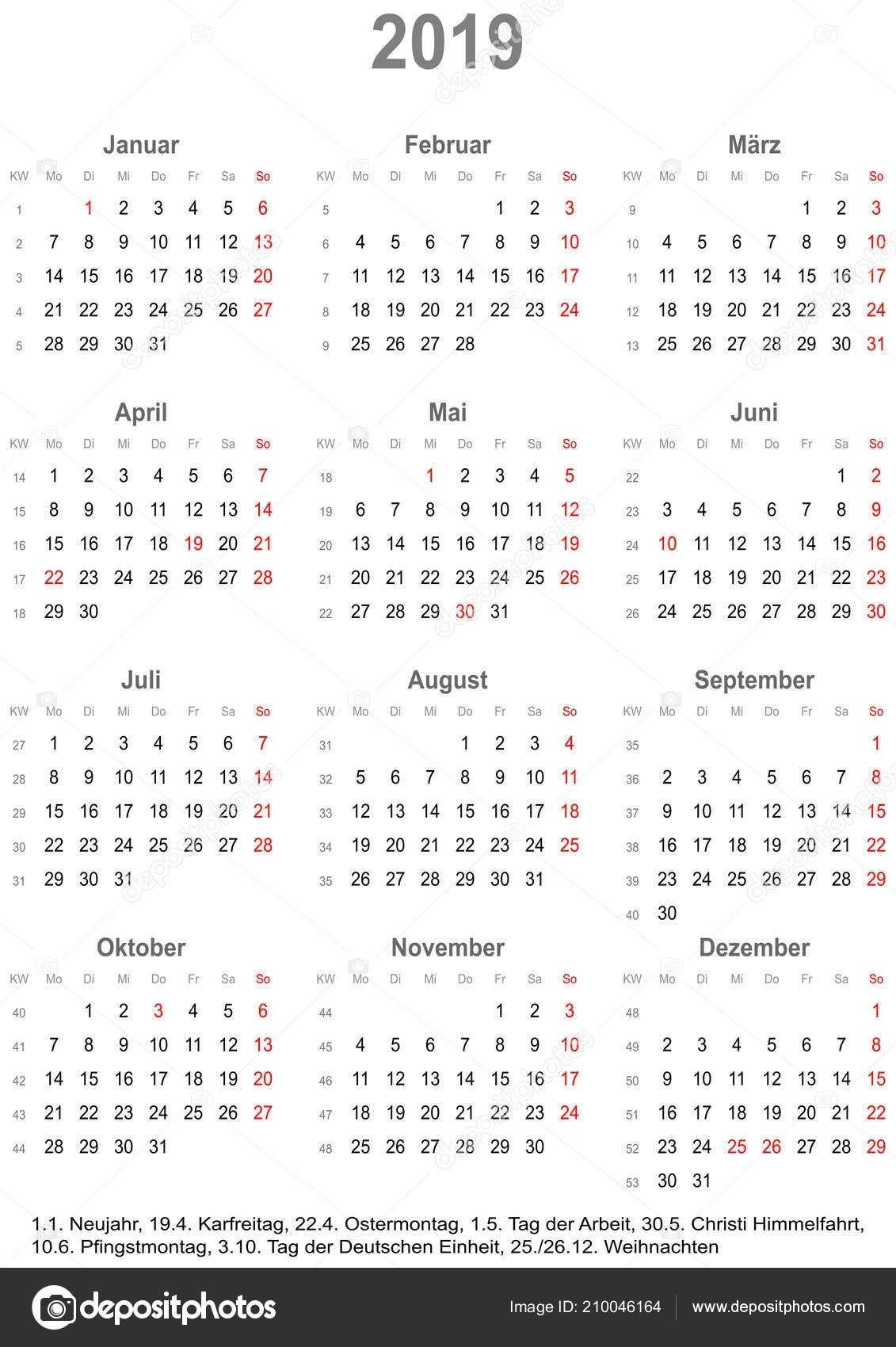 Simple Calendar 2019 One Year Glance Starts Monday Public