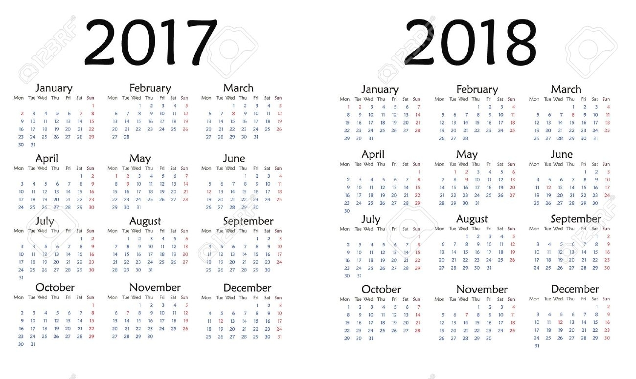 Simple Calendar For 2017. Vector Template Design Monthly Date..