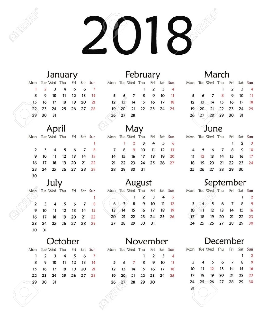 Simple Calendar For 2018. Vector Template Design Monthly Date..