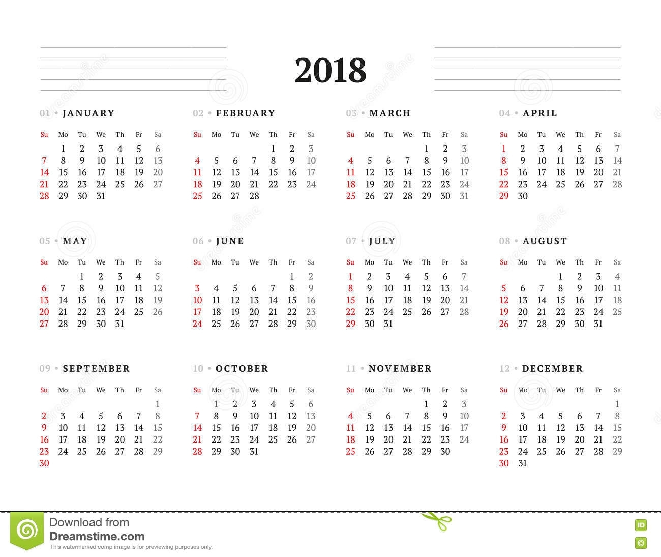 Simple Calendar Template For 2018 Year Stock Vector
