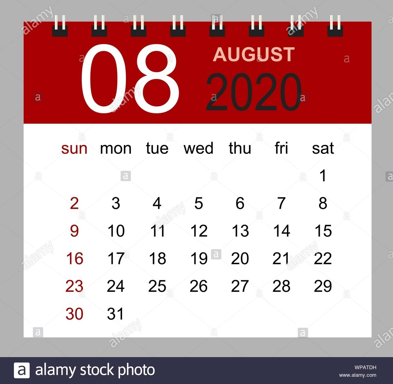 Simple Desk Calendar For August 2020. Week Starts Sunday