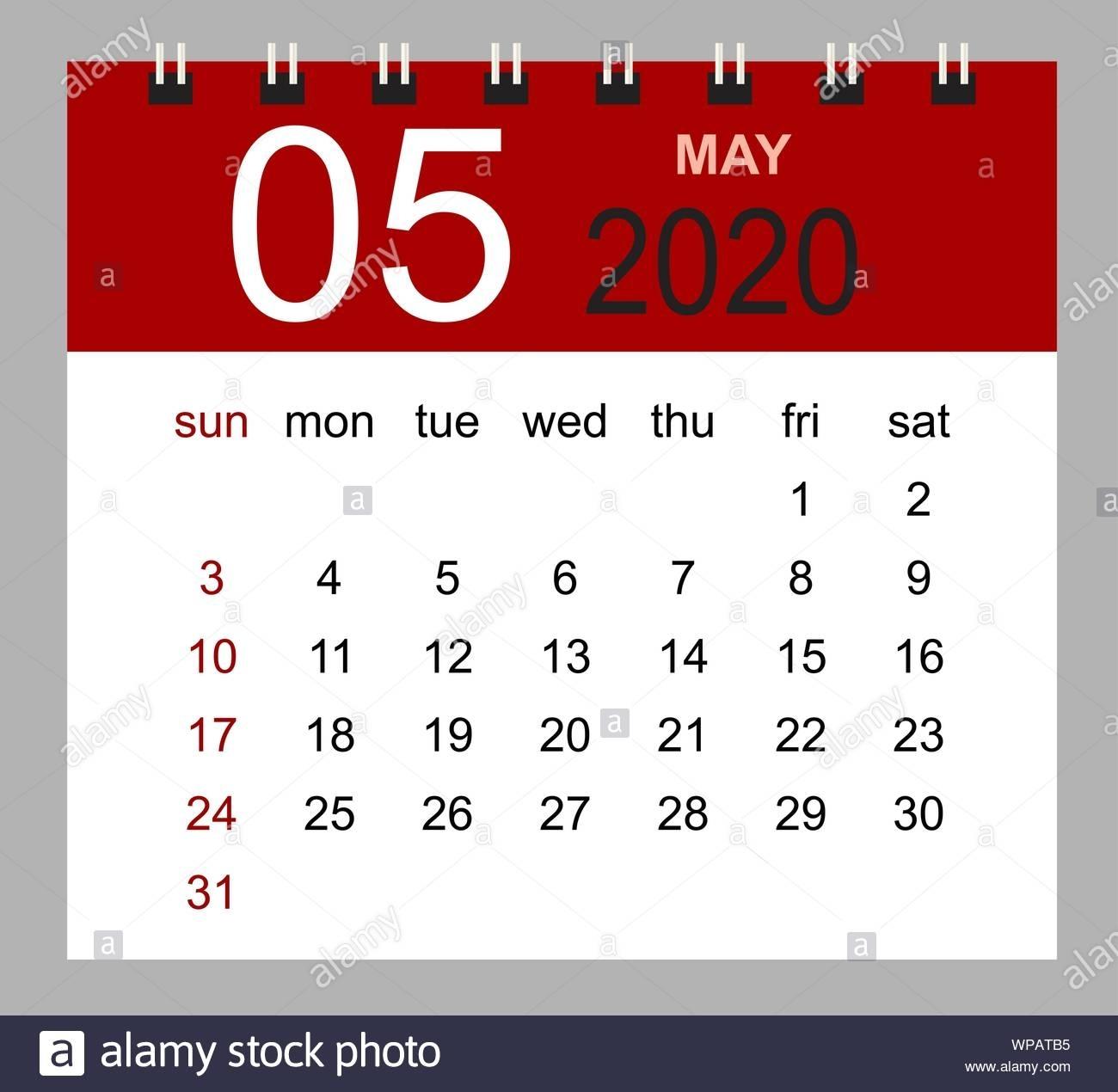 Simple Desk Calendar For May 2020. Week Starts Sunday