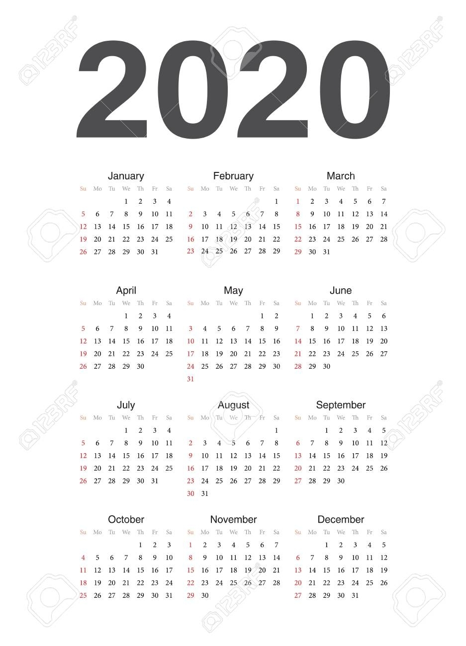 Simple European 2020 Year Vector Calendar. Week Starts From Sunday.