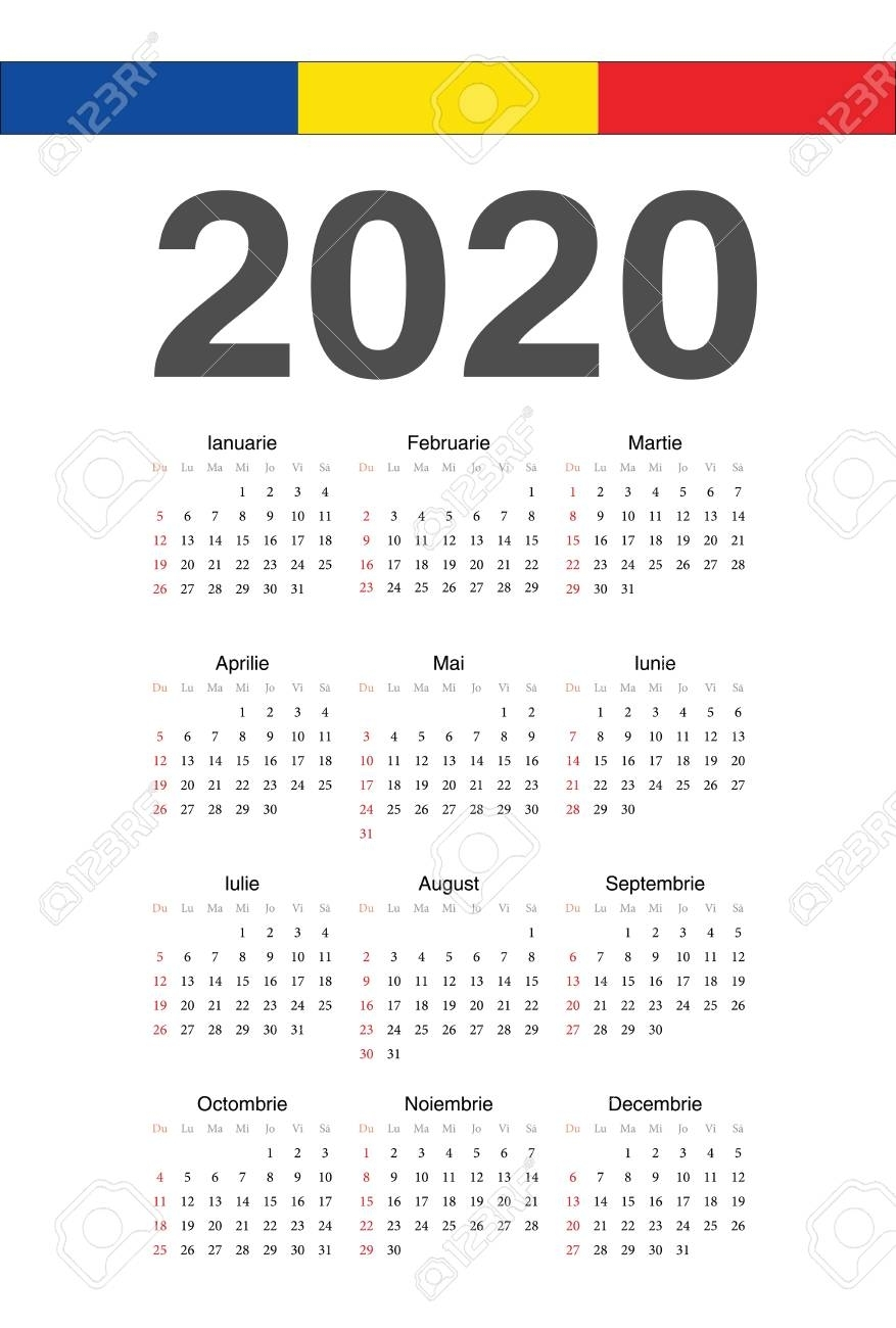 Simple Romanian 2020 Year Vector Calendar. Week Starts From Sunday.