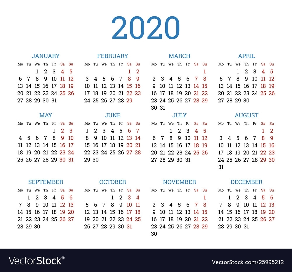 Simple Traditional Calendar Layout For 2020 Year