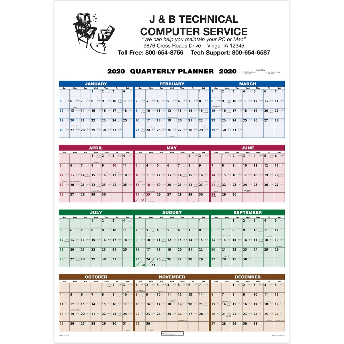 Single Sheet Wall Calendar - 4-Color Quarterly Full Year View 2020