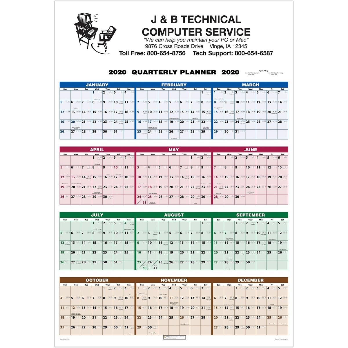 Single Sheet Wall Calendar - 4-Color Quarterly Full Year View 2020