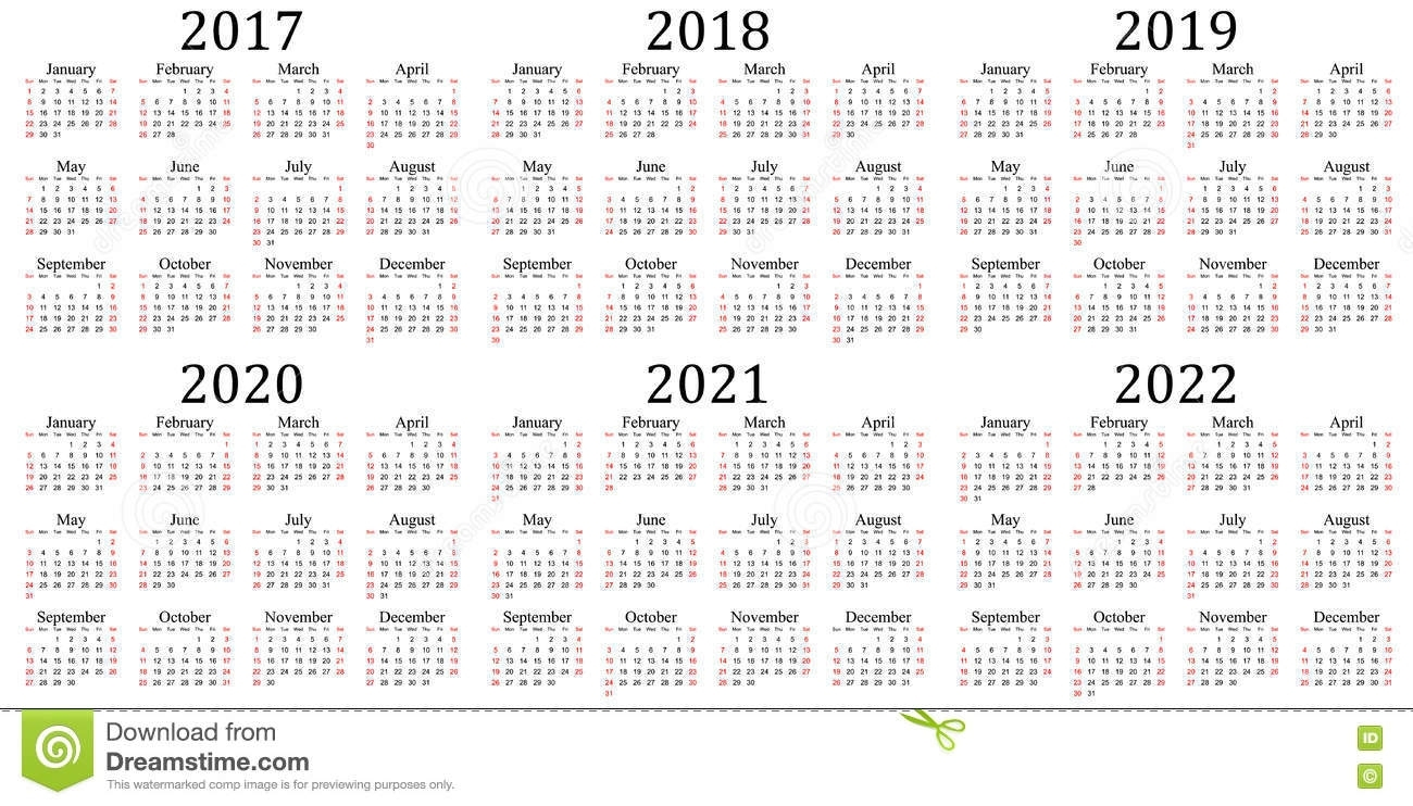 Six Year Calendar - 2017, 2018, 2019, 2020, 2021 And 2022