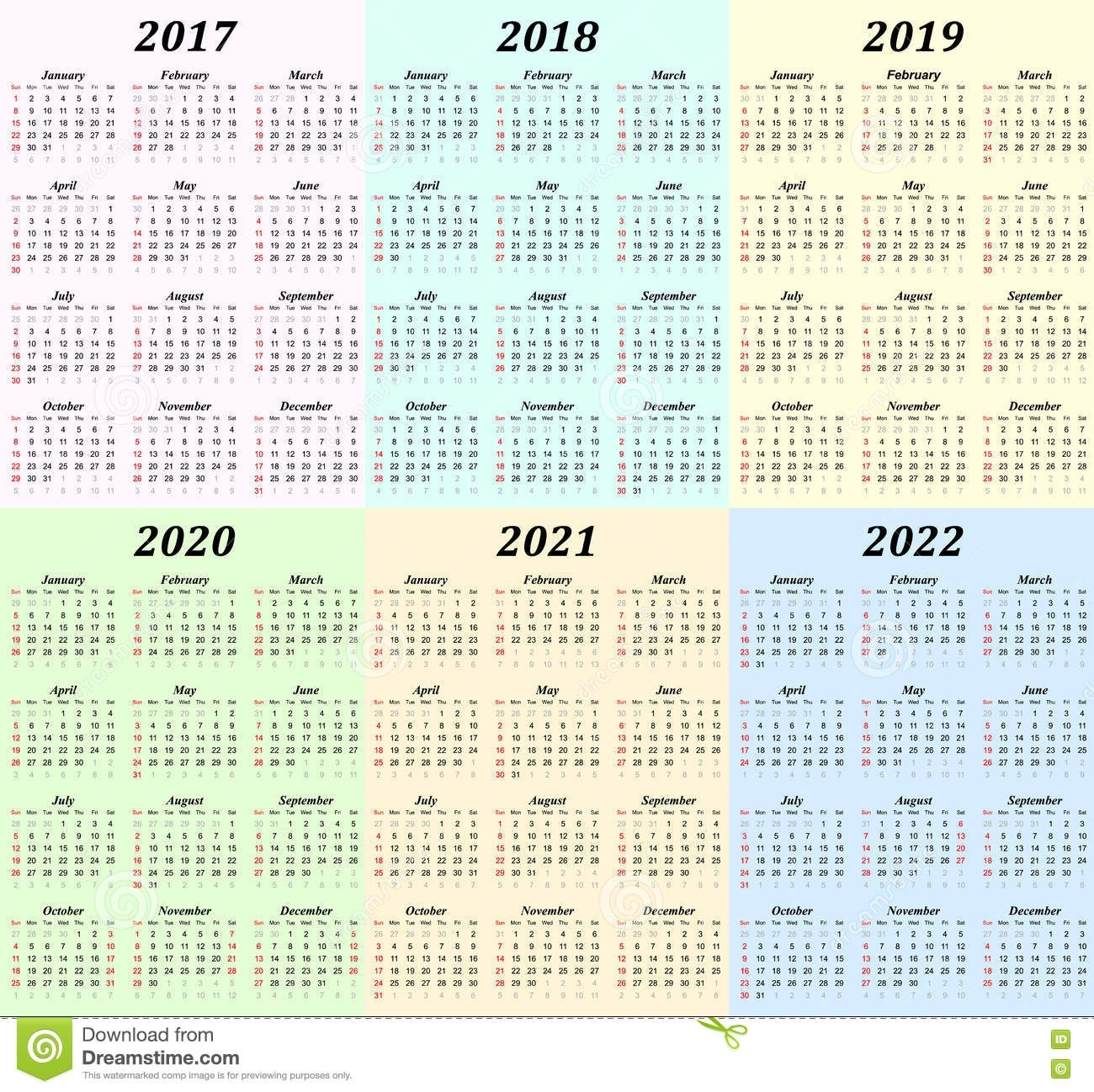 Six Year Calendar - 2017, 2018, 2019, 2020, 2021 And 2022