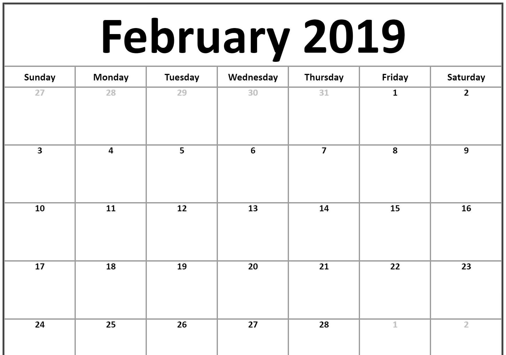 Small 2019 February Printable Calendar #landscape | 2019