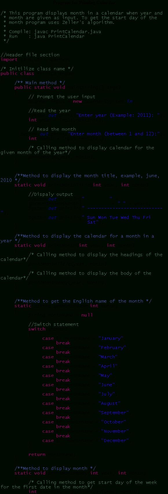 Solved: (Print Calendar) Programming Exercise Uses Zeller's