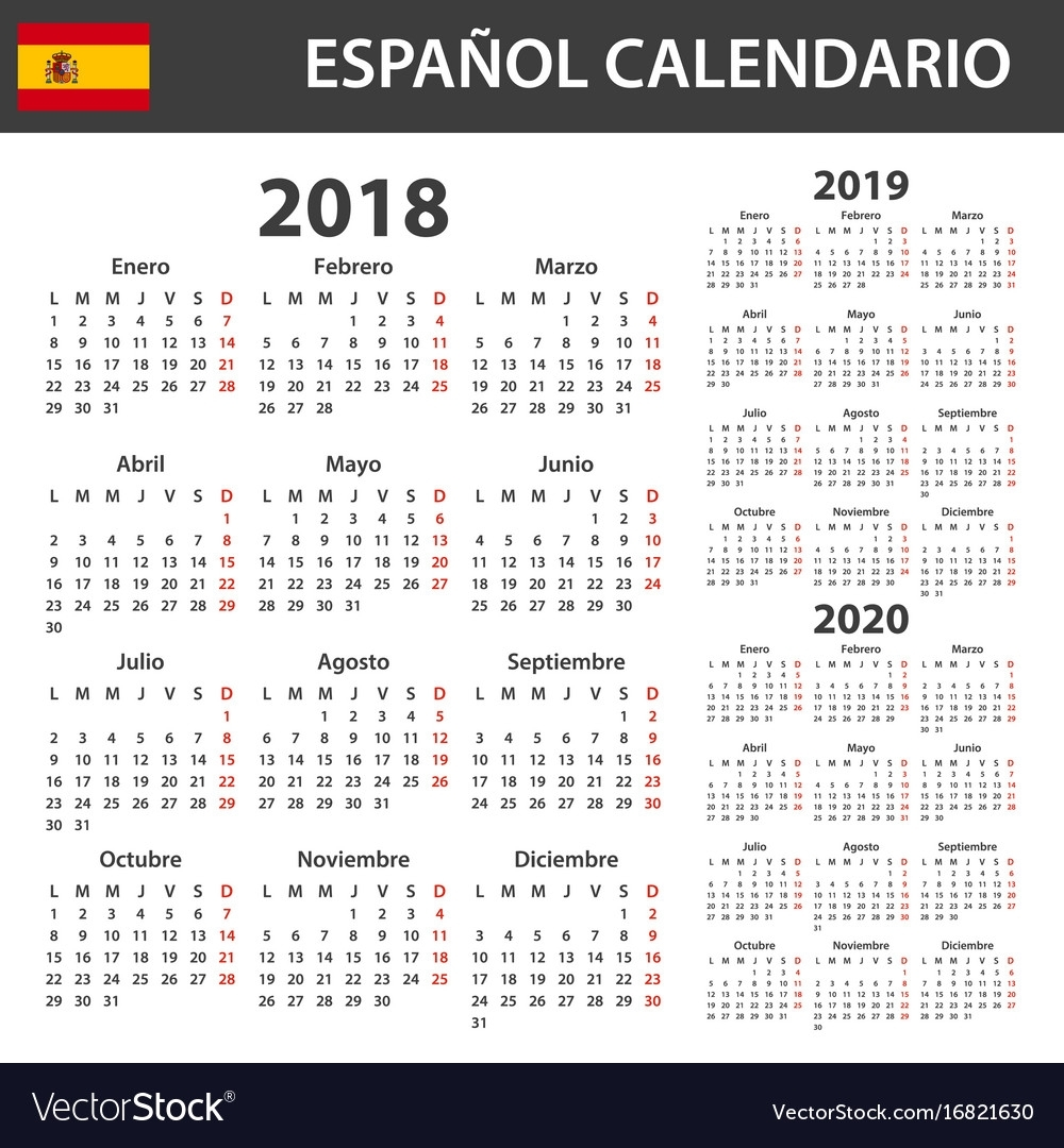Spanish Calendar For 2018 2019 And 2020 Scheduler