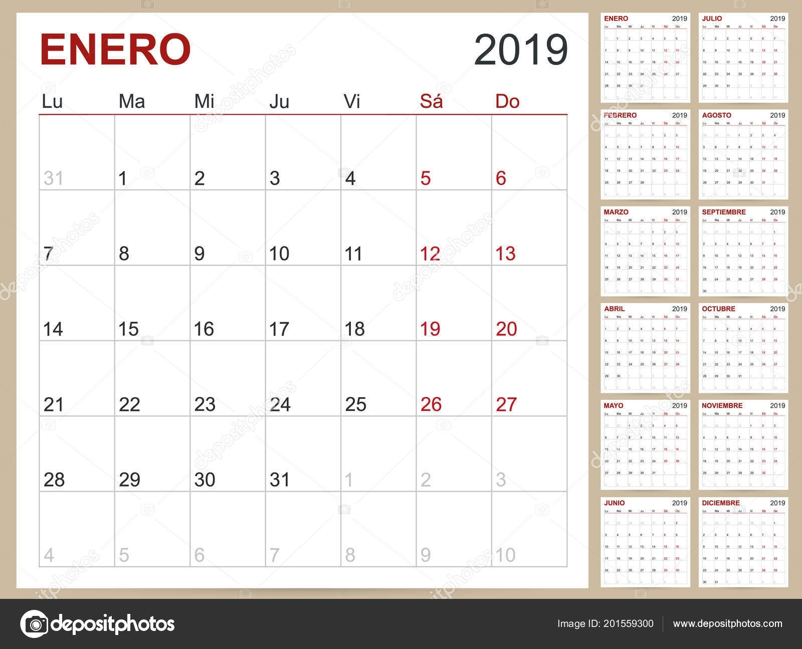 Spanish Calendar Template | Spanish Planning Calendar 2019