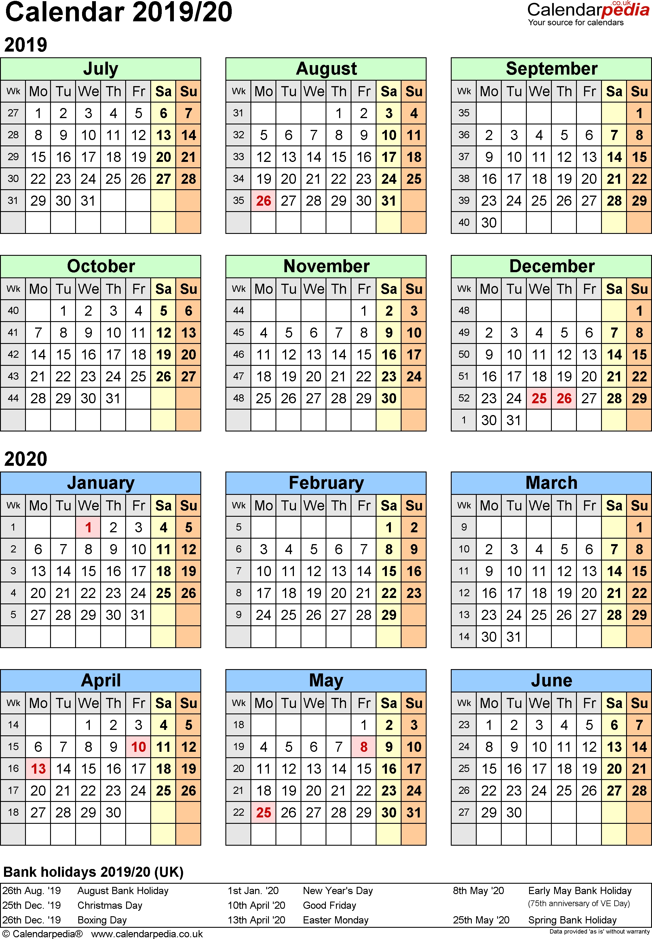 Split Year Calendars 2019/20 (July To June) For Excel (Uk