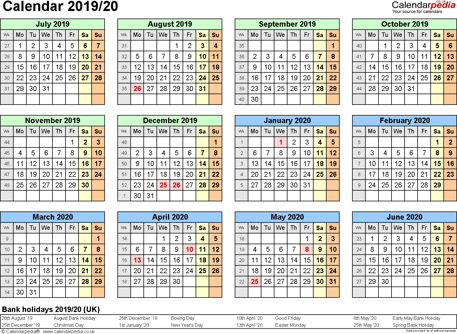 Split Year Calendars 2019/20 (July To June) For Word (Uk