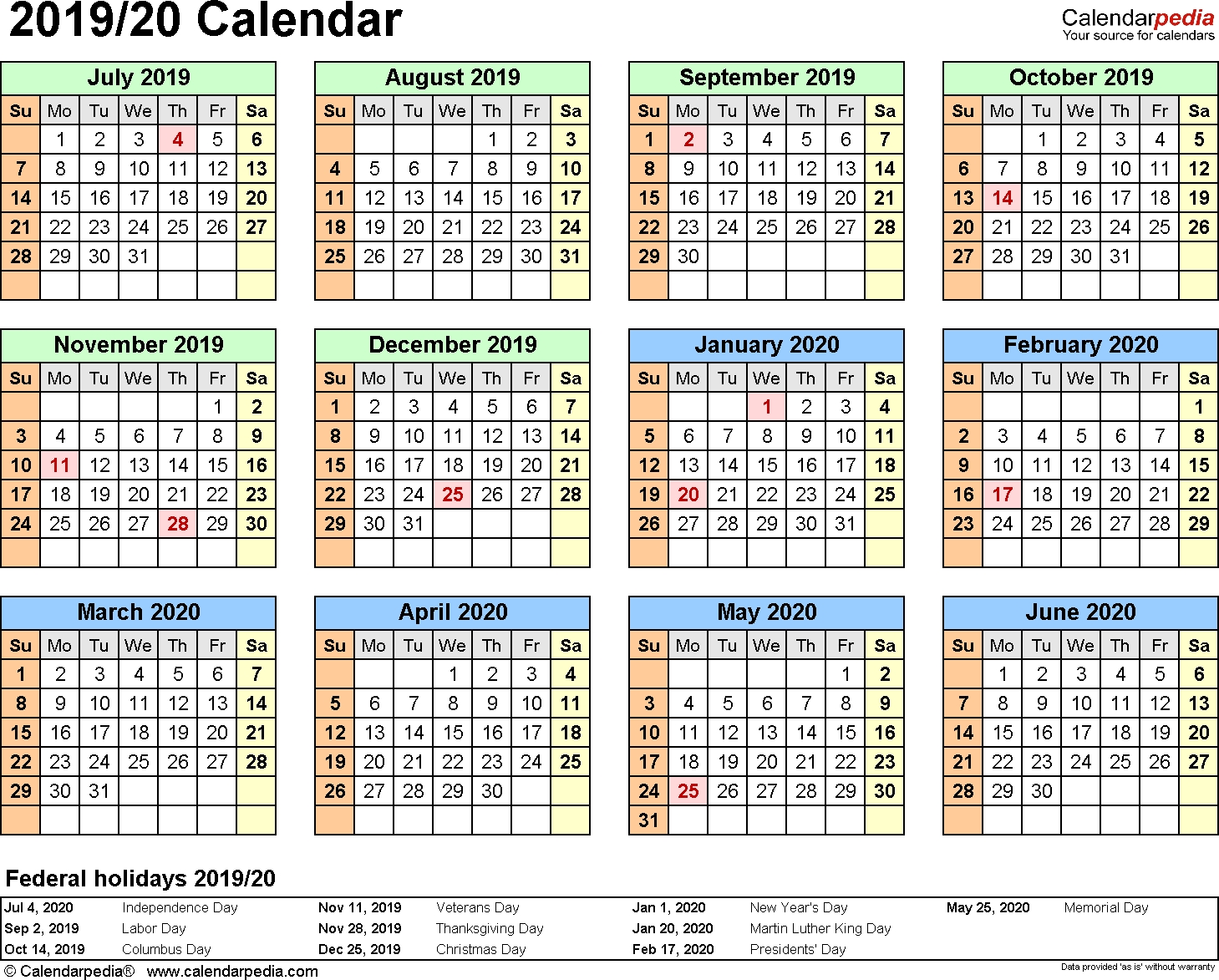 Split Year Calendars 2019/2020 (July To June) - Word Templates