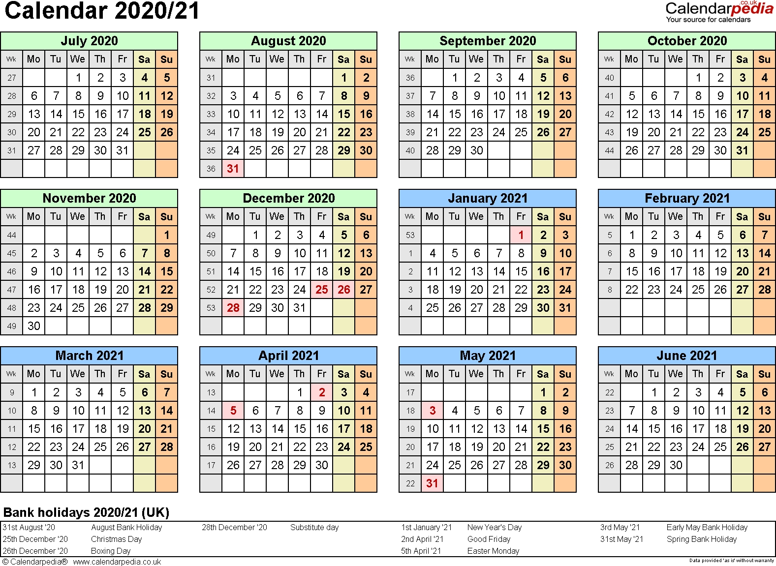 Split Year Calendars 2020/21 (July To June) For Word (Uk