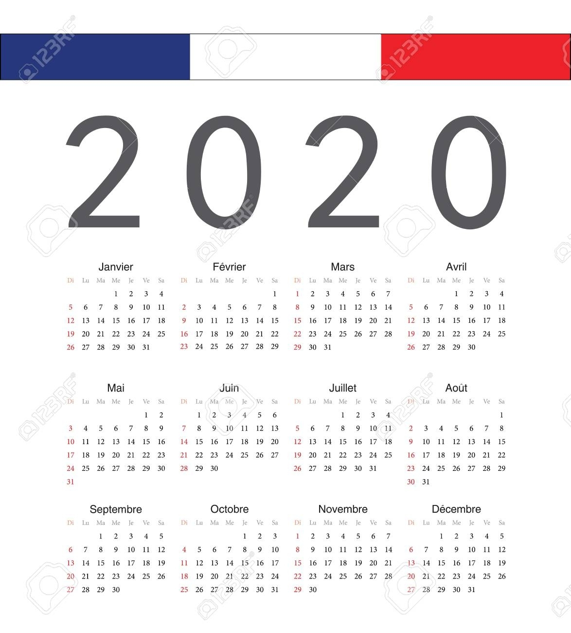 Square French 2020 Year Vector Calendar. Week Starts From Sunday.