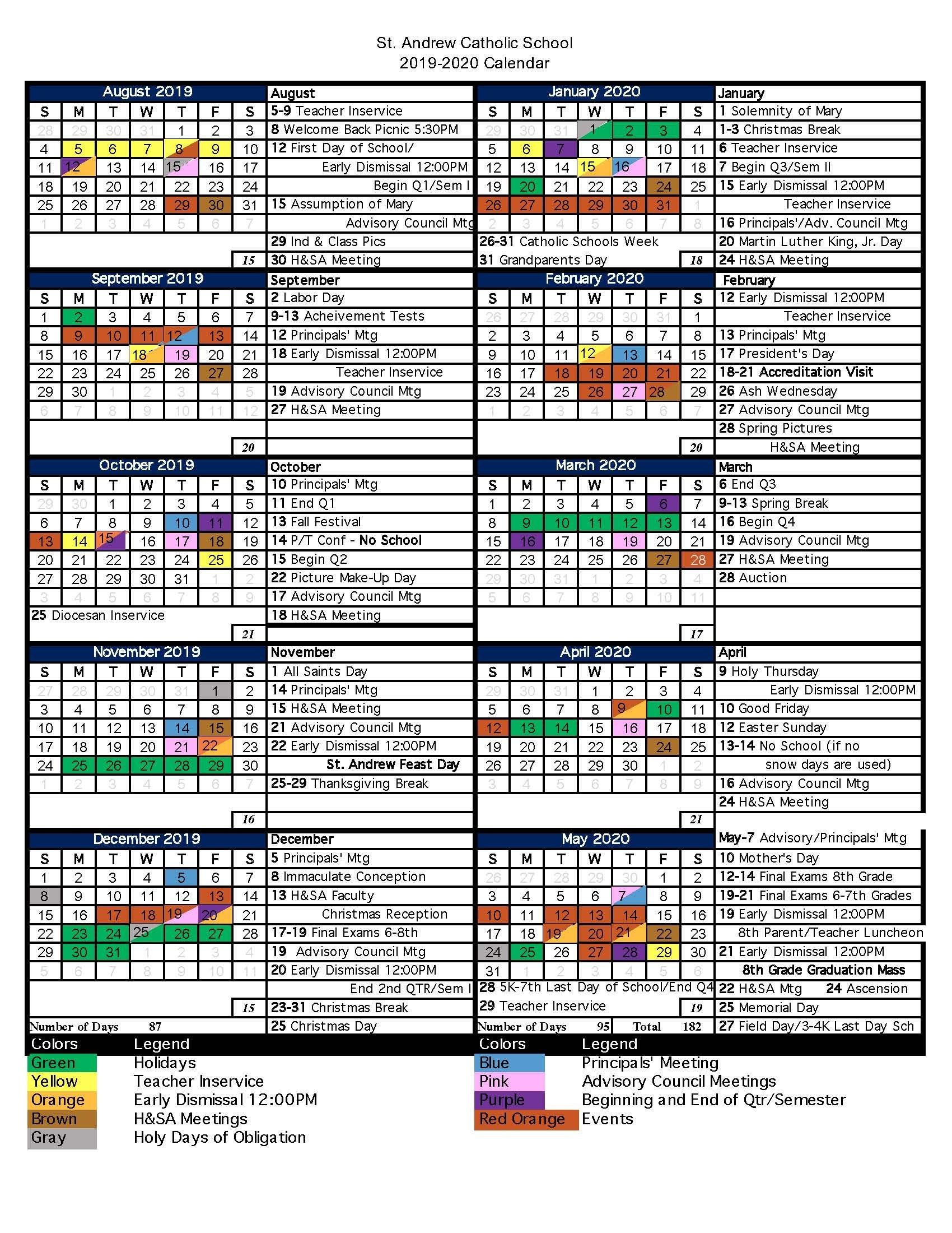 Stephen F Austin 2019 2020 Calendar | Calendar Template