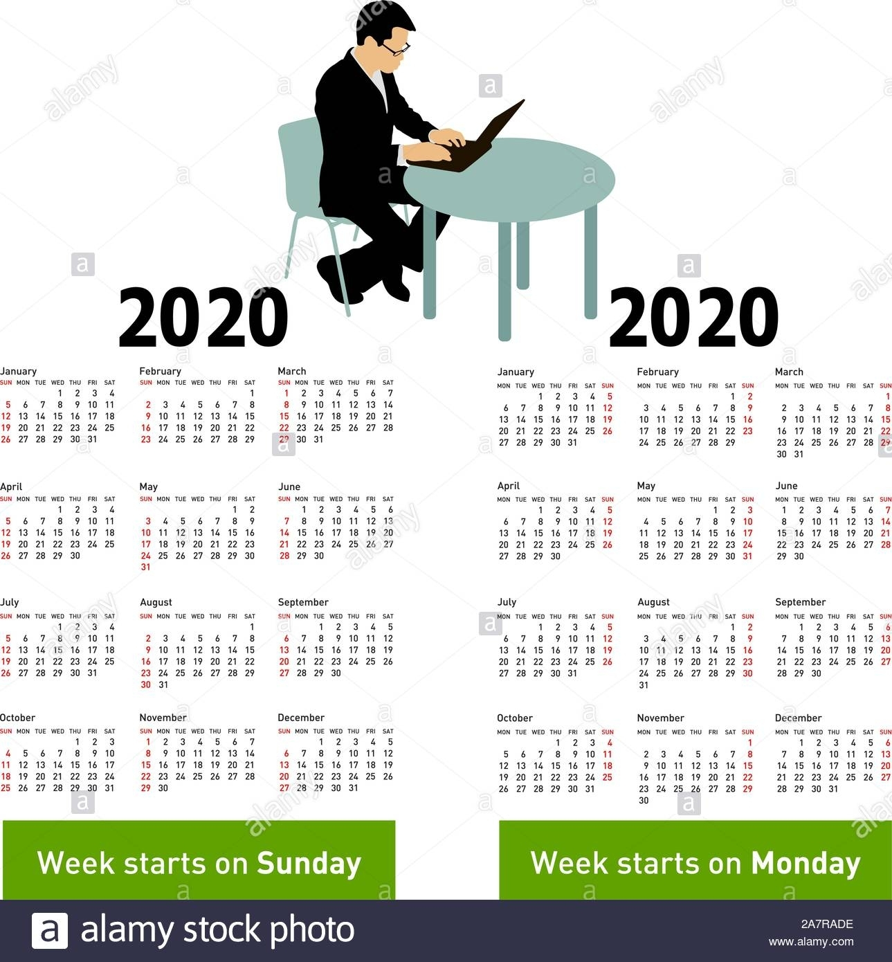Stylish Calendar With Silhouette Man Sitting Behind Computer