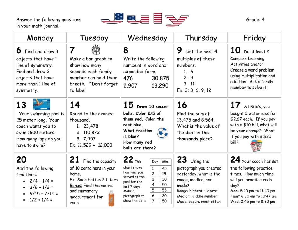 Summer Grade 4 Math Calendar