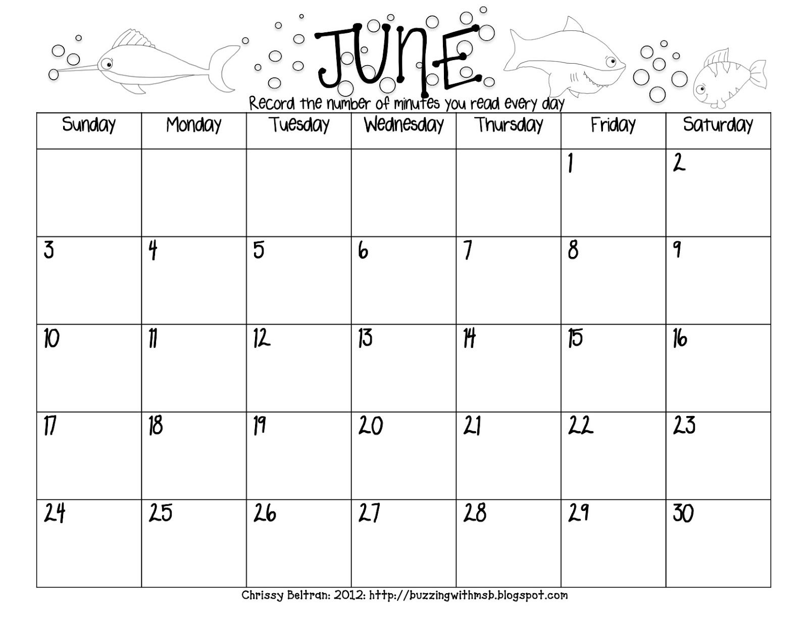 Summer Reading Log Freebie - Calendar Style - June, July