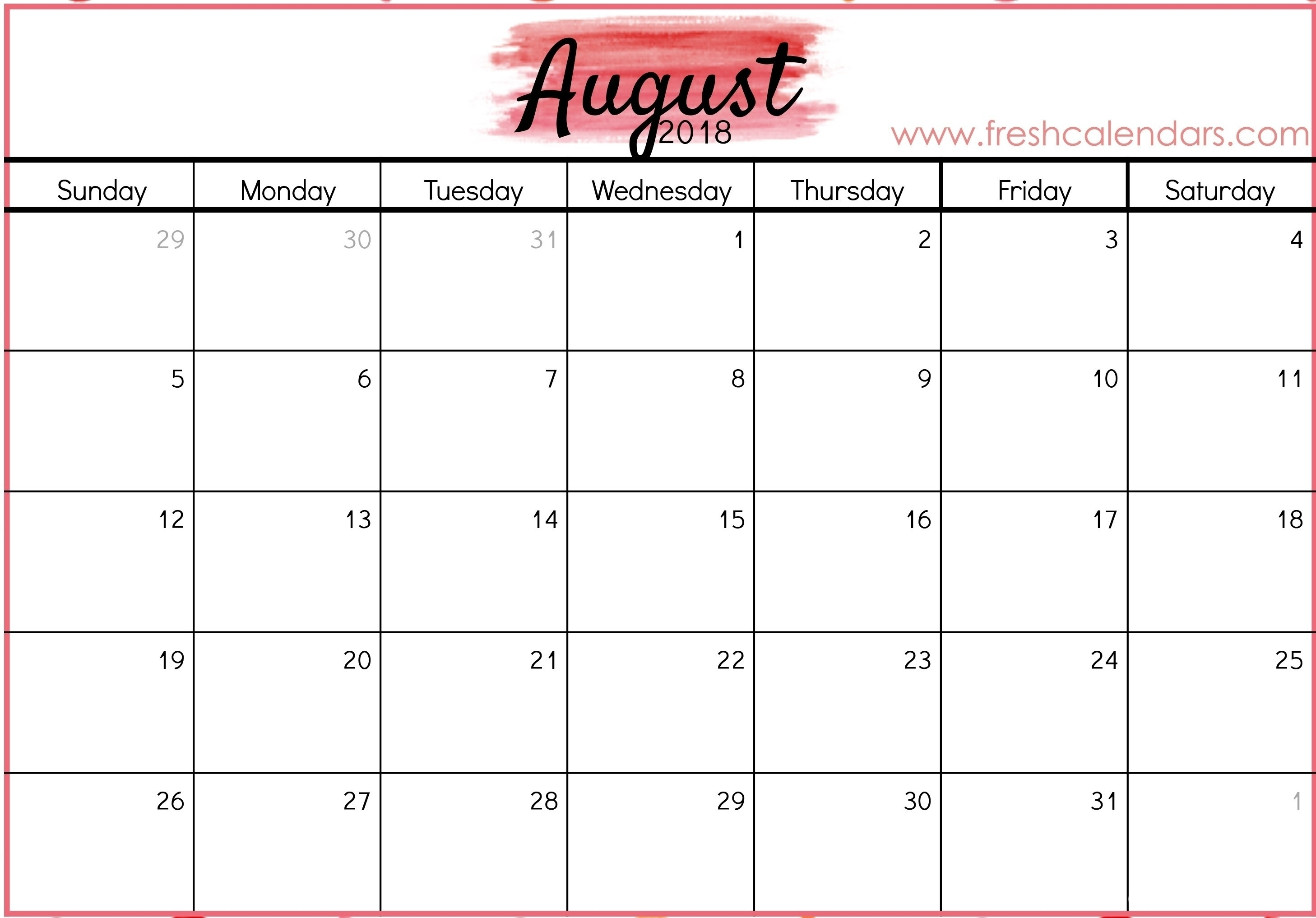 Take August 2019 Calendar Free Printable Imom ⋆ The Best