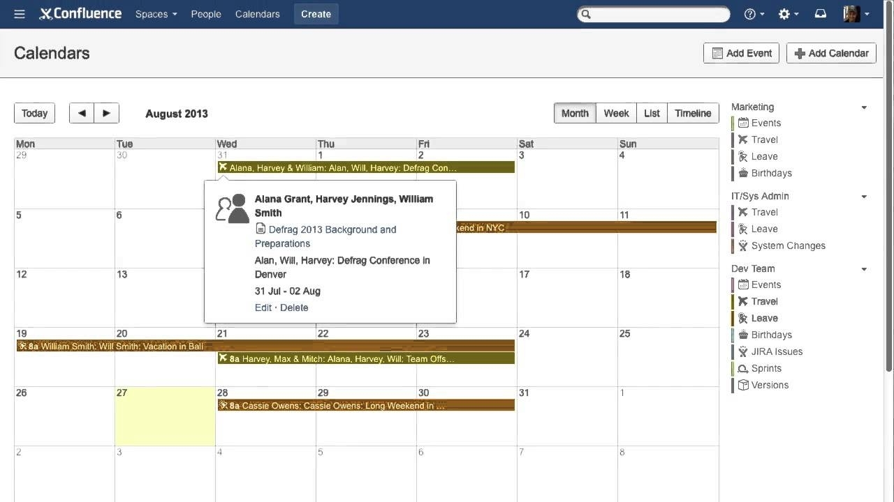 Team Calendars For Atlassian Confluence Demo Video