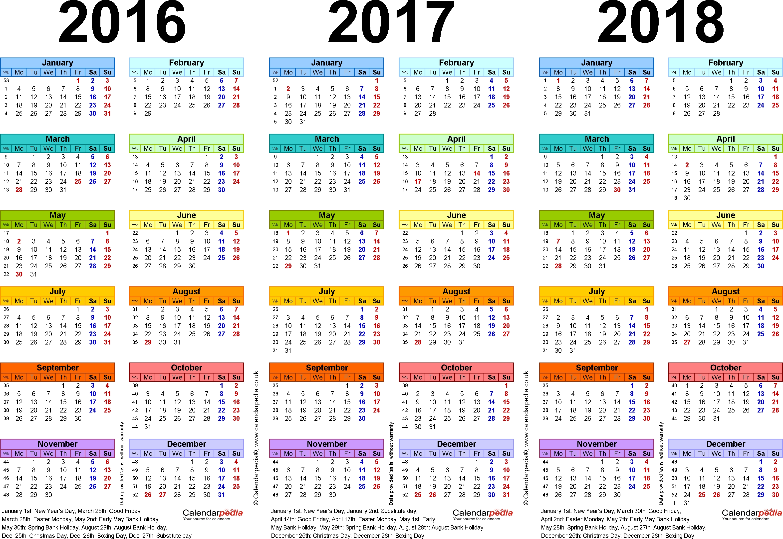 Template 1: Pdf Template For Three Year Calendar 2016/2017