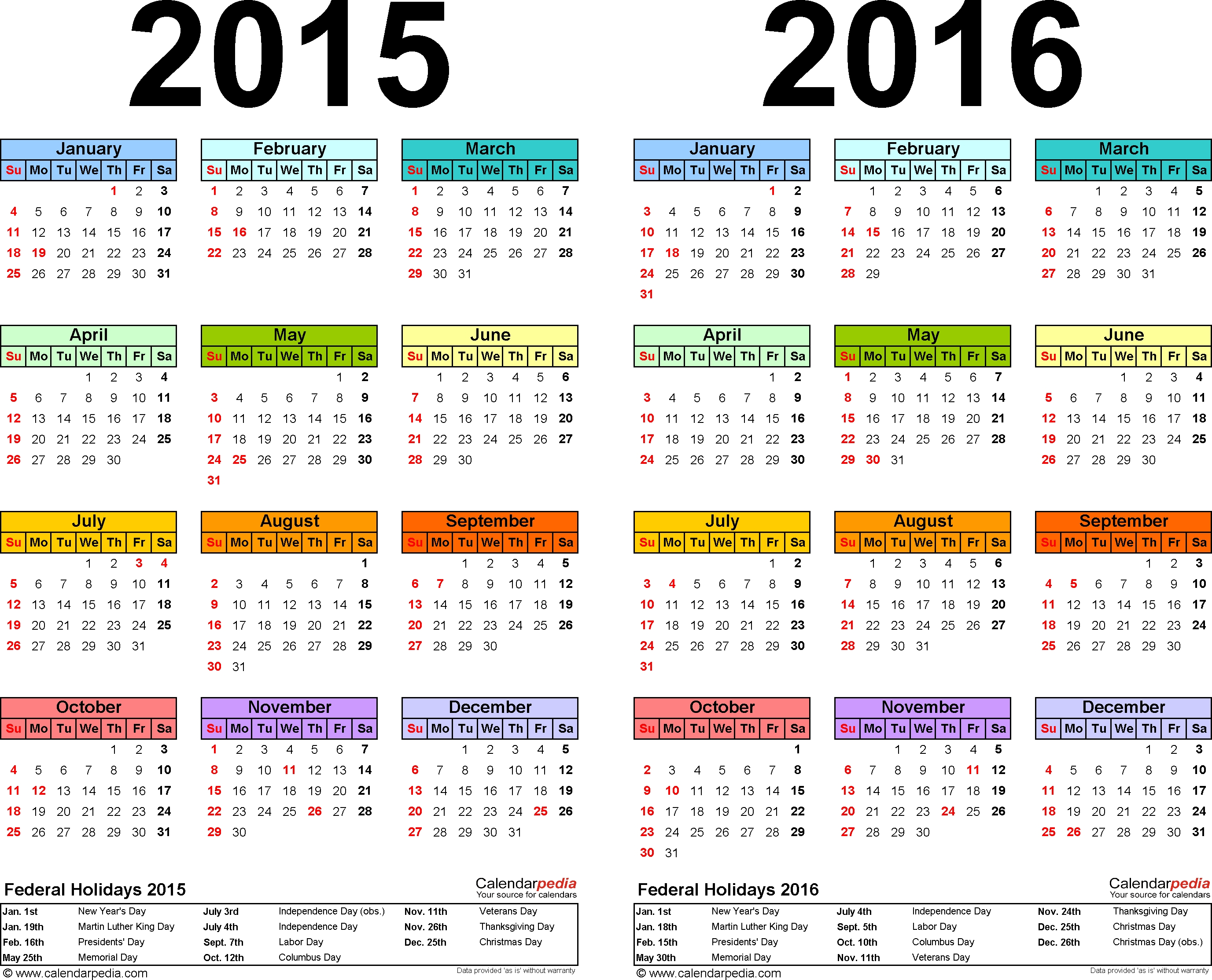 Template 1: Pdf Template For Two Year Calendar 2015/2016
